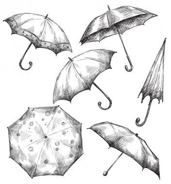Set of umbrella drawings, hand-drawn