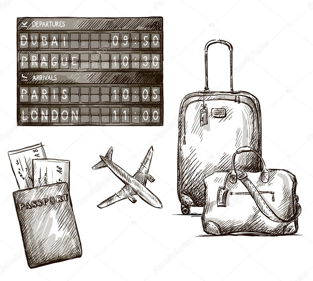 Airplane Travel Doodles Hand Drawn Vector Illustration EPS 10 By Kamenuka