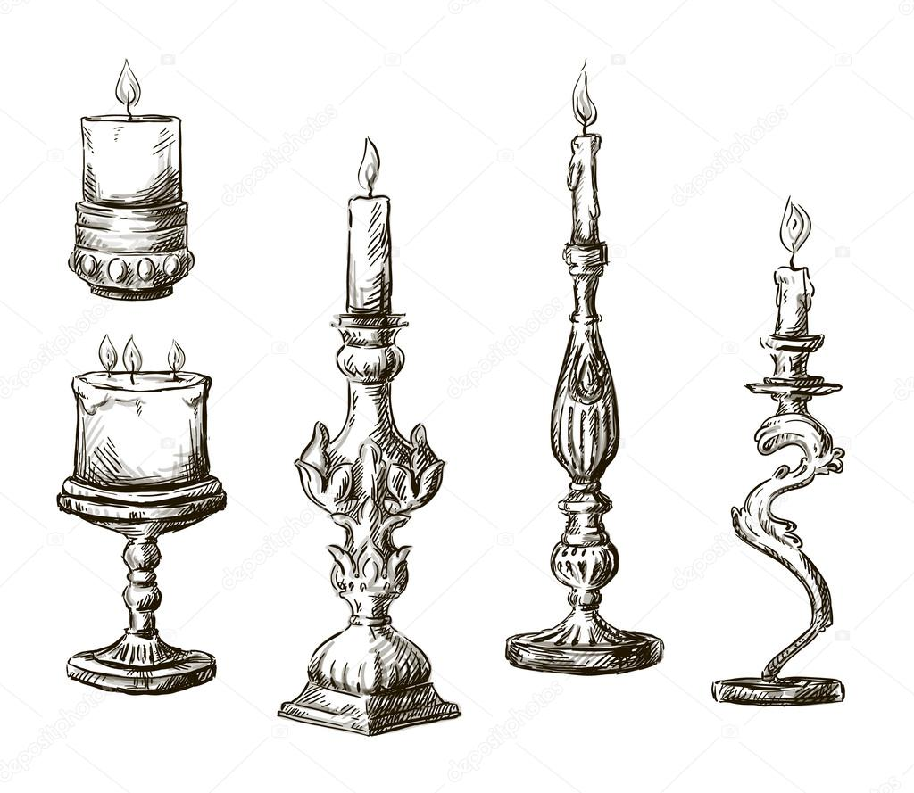 Hand drawn candles. Retro candlesticks. — Stock Vector © kamenuka ... for candle lamp drawing  61obs