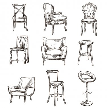 Set of hand drawn chairs interior detail stock vector