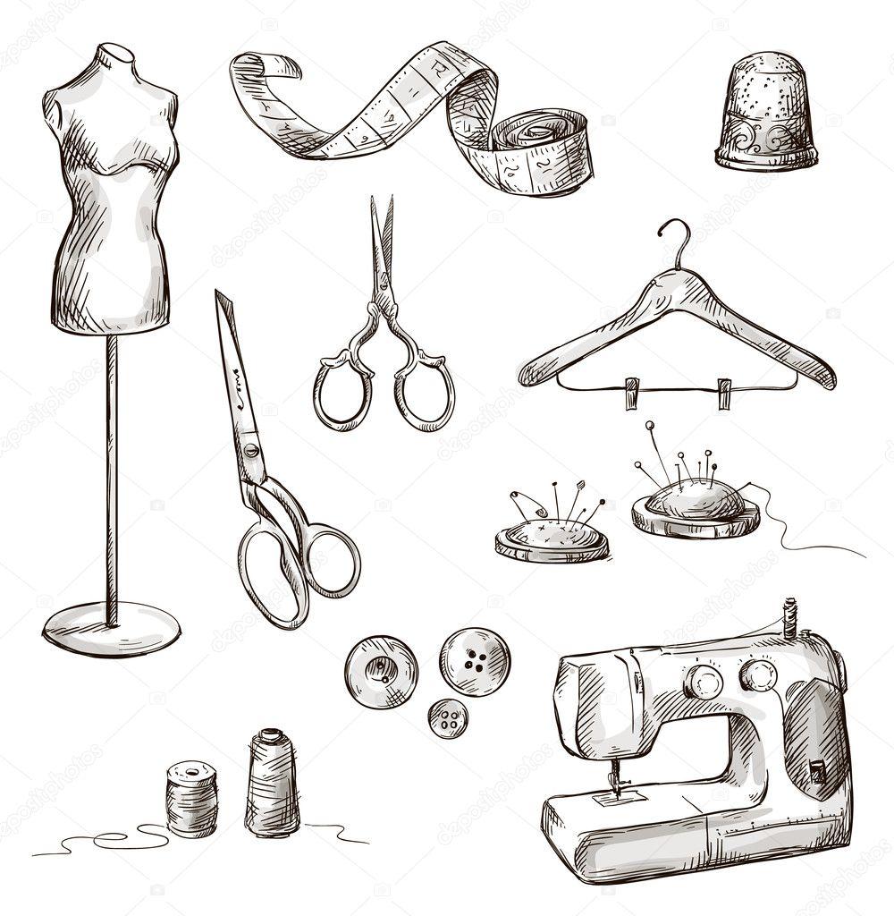 S rie de dessins d 39 accessoires de couture image - Dessin de couture ...