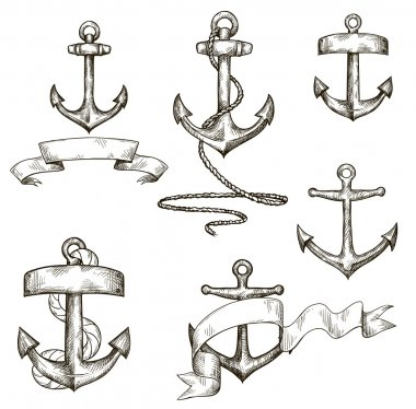 Set of hand drawn anchors and ribbons