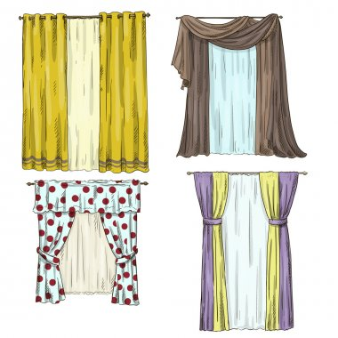 Set of curtains. interior details. Cartoon style. Vector illustration