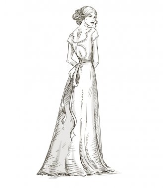 Beautiful girl. Bride. Bridal dress. hand drawn. vector.