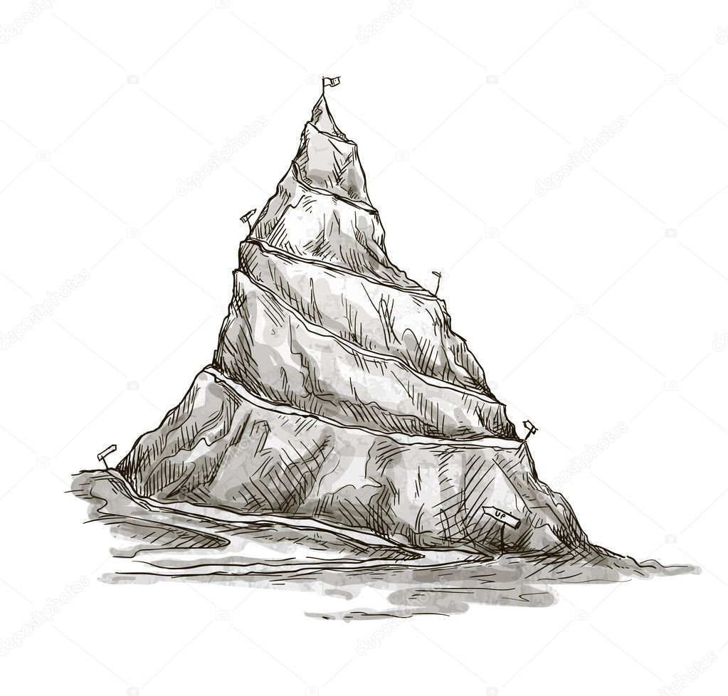 Hand drawn mountain. Mountain peak. serpentine road. Vector. EPS 10.
