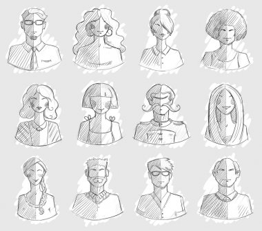 Characters design. Hand drawn icons. Faces sketch. Vector illlustration.