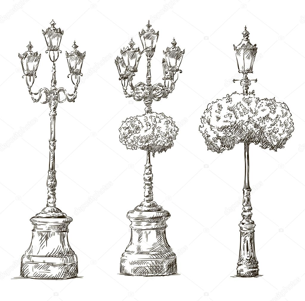 Street lamps. Lamp posts drawings. Sketch. Freehand. — Stock ... for Street Lamp Drawing  55nar