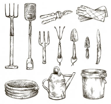 Set of gardening tools drawings, vector illustrations