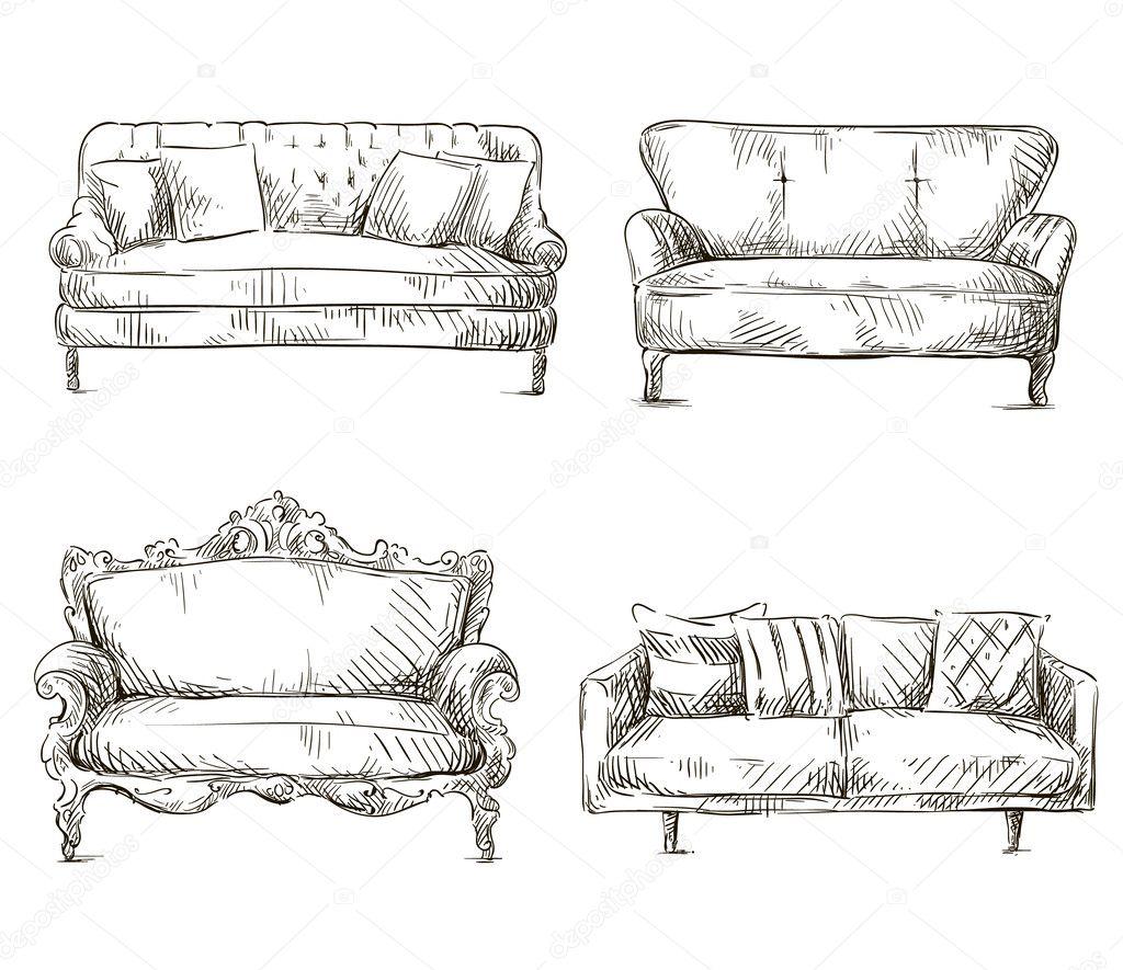 Set di divani stile schizzo di disegni, illustrazione vettoriale ...