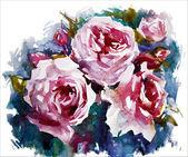 Akvarel růže. Kytice malování. vektorové eps 10