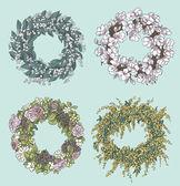 stílusos koszorúk rajzok gyűjteménye. virág dekoráció. Floral design