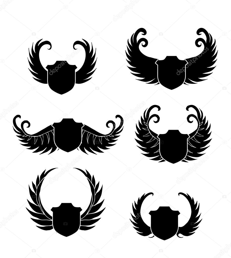 tribal wings shield stock vector a1vector 14667607. Black Bedroom Furniture Sets. Home Design Ideas