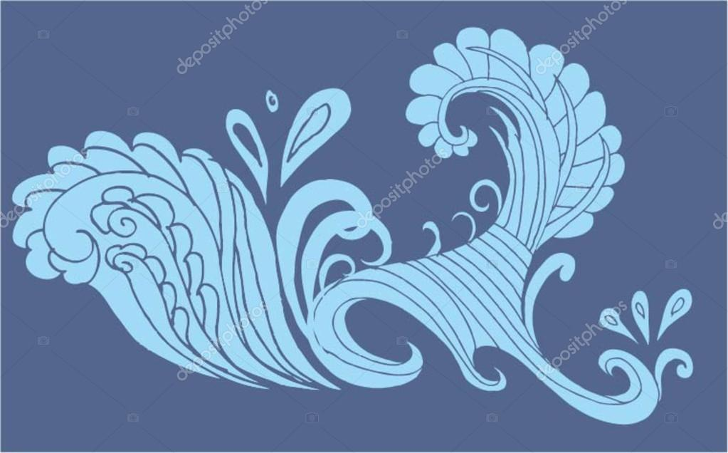 Blue backgrounds tribal wave vector art