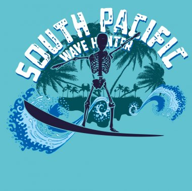 Palm beach skeleton surfer vector art