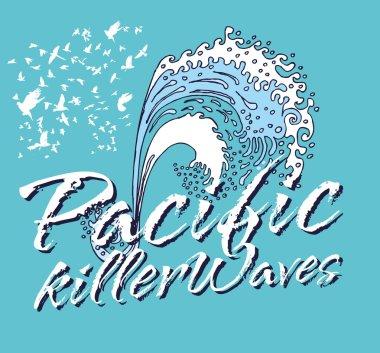 Pacific ocean killer waves vector art