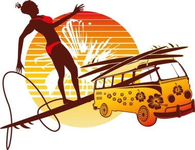 Palm beach surfer girls vector art