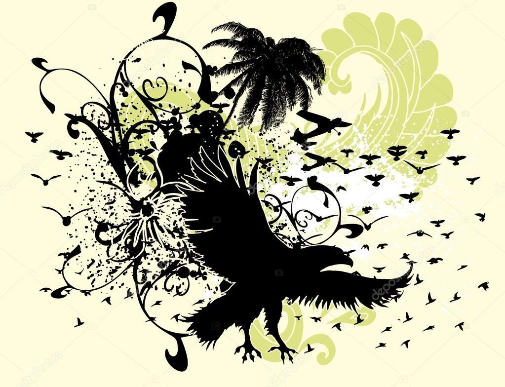 Palm beach and birds vector art