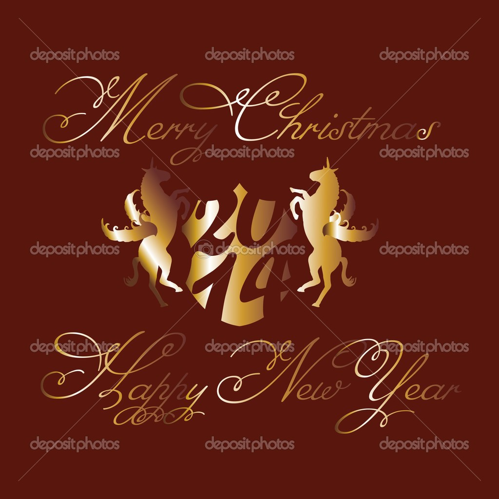 horse and happy new year vector art stock vector