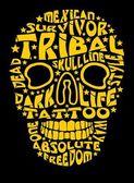 Fotografia tatuaggio tribale del cranio arte vettoriale