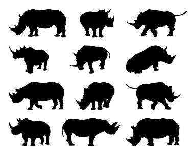 Rhinoceros silhouette vector set