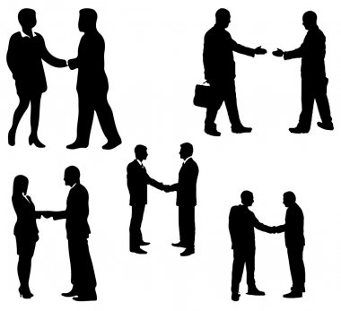 Set of vector silhouette shaking hands in business