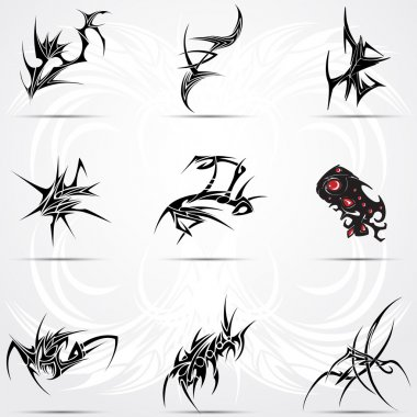 Set of cool 9 tribal tattoos