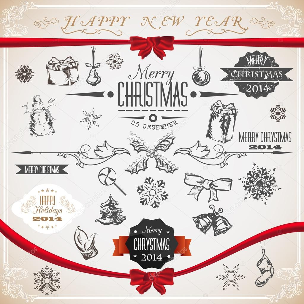 Vintage Set Of Christmas Icons And Symbols Vector Illustration