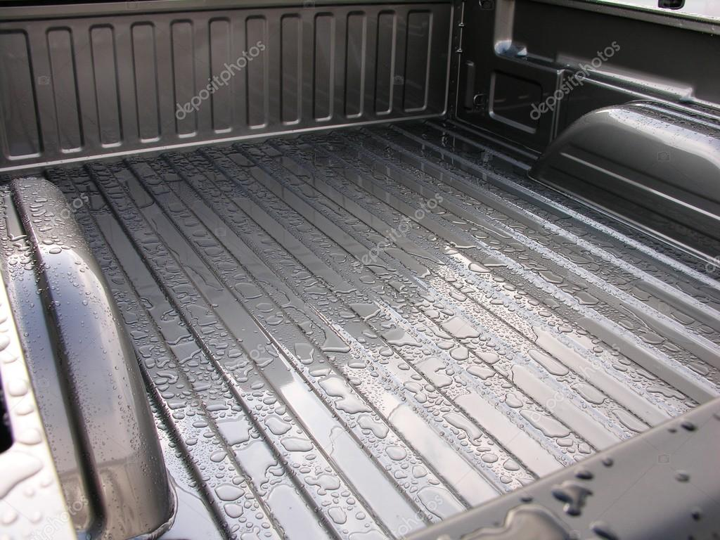 Rain drops on the cargo bed.