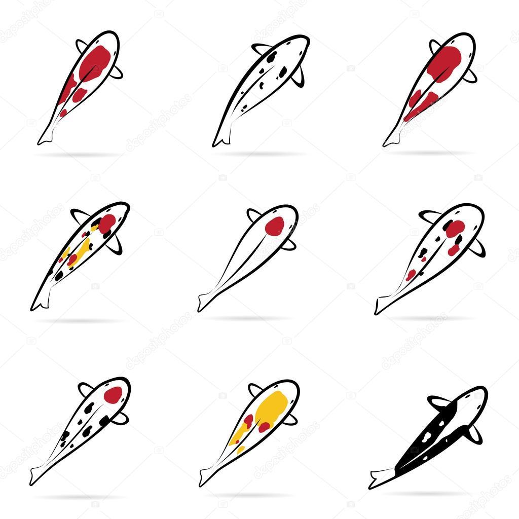 Set of vector carp koi