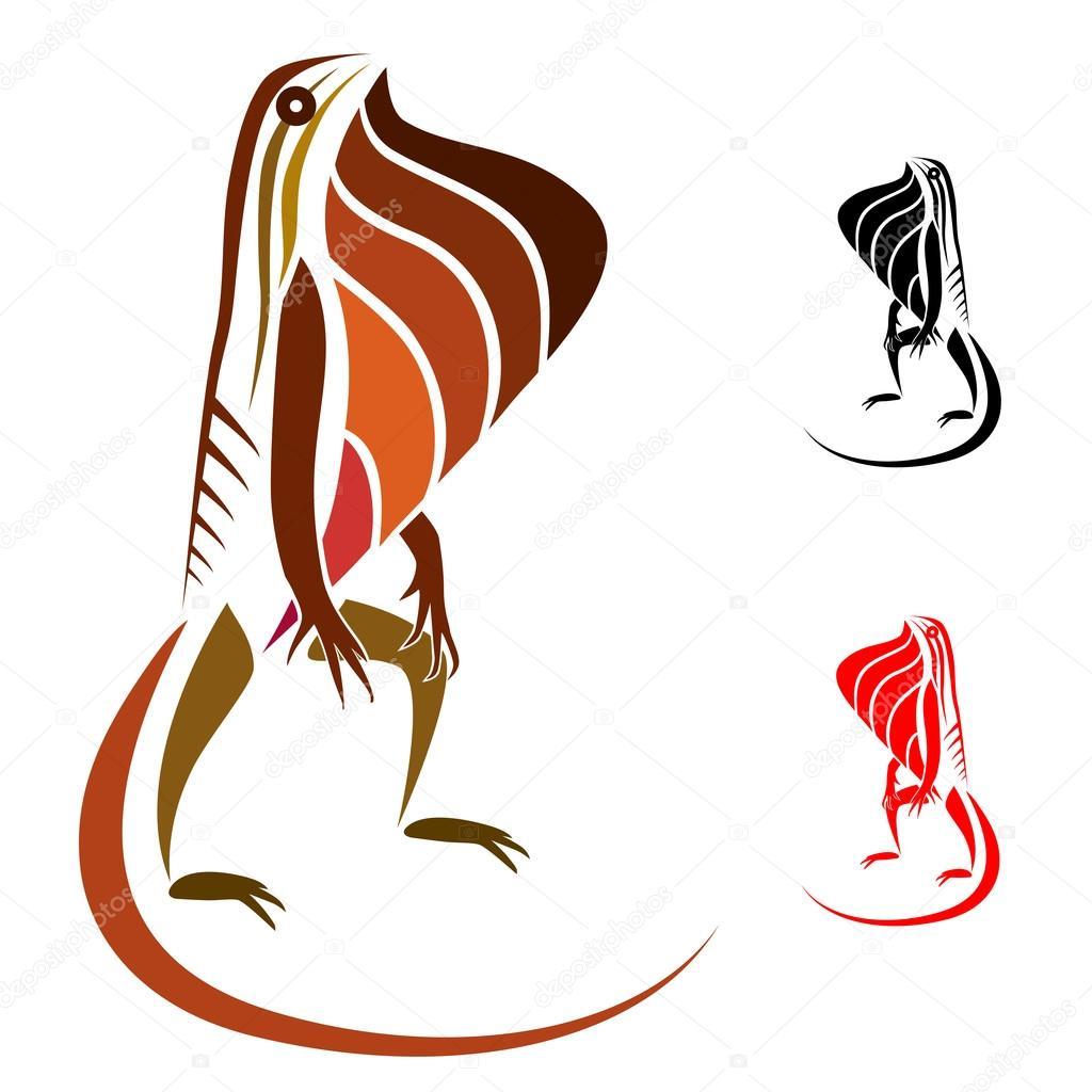 Lizard standing on two legs