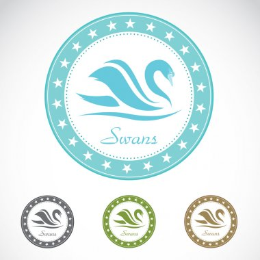 Set of vector swan label