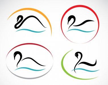 Set of vector swans