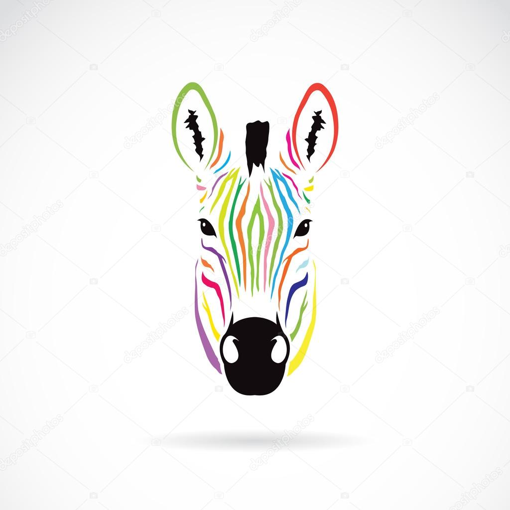 Vector image of an zebra head colorful