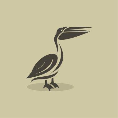 Vector image of an billed stork