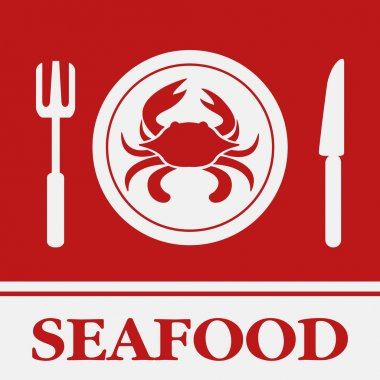 Crab, Fork and Knife icon, restaurant sign