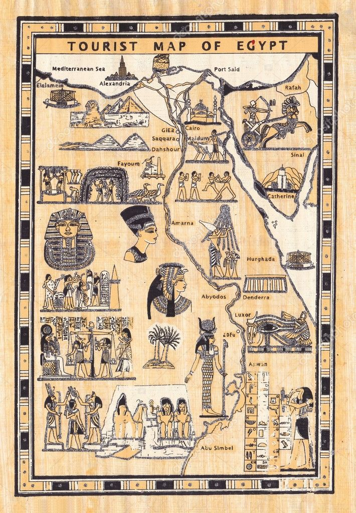 Tourist Map Of Egypt Painted On Papyrus Stock Photo Image By C Rysp 19667991