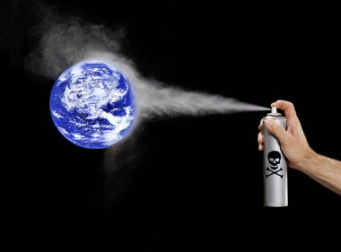 Spray Polluting the planet earth.