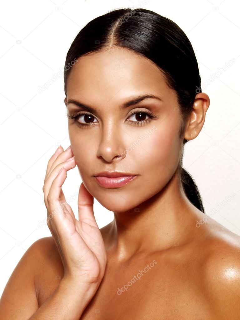 Beautiful Young Latin Woman On White Background Closeup -9862