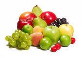 Ripe fruit on white background
