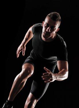 Running man on black background.