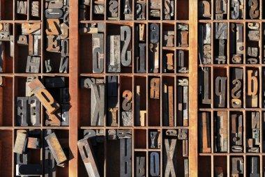 Vintage typeset letter press stored