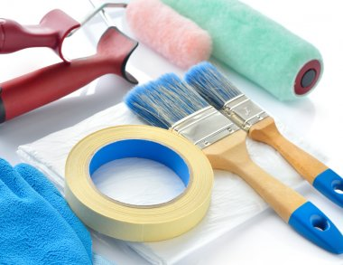 Painting tools on white background.