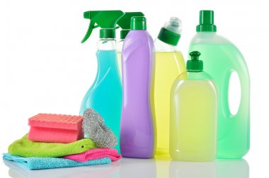 Set of cleaning products. House cleaners.