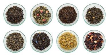 Assortment of dried tea leaves.