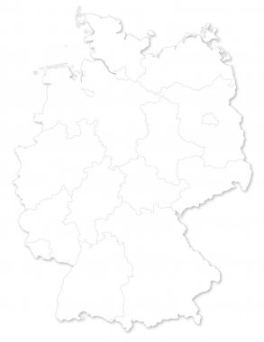 map of German states on white background.