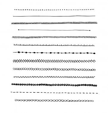 Ink hand-drawn vector line border set.