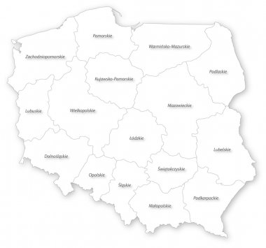 Vector map of Poland with voivodeships.