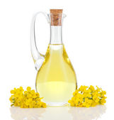 Fotografie Rapeseed oil and flowers isolated over white.