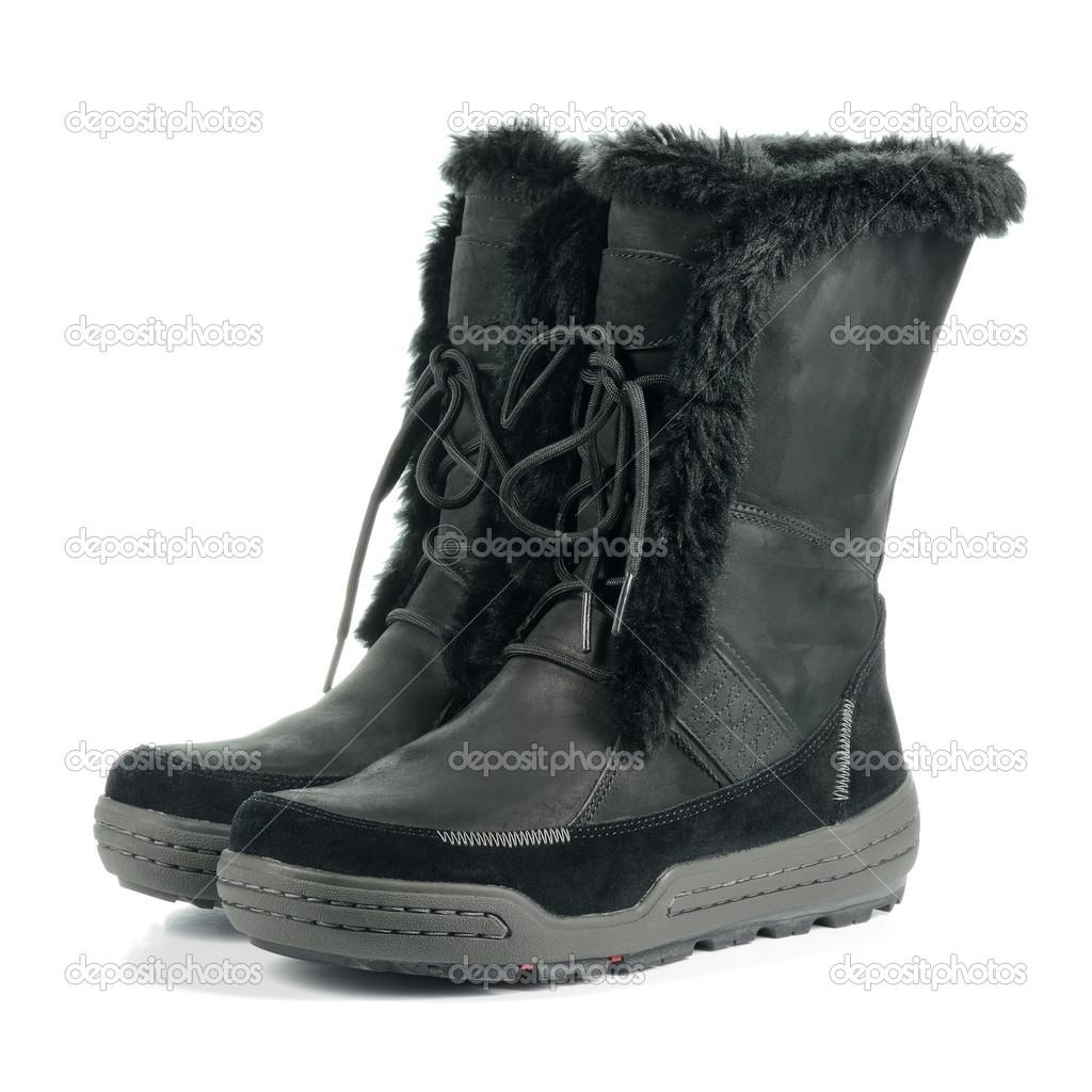 622b1216fef480 Schwarze warme feminine Stiefel — Stockfoto © geo-grafika  50334659