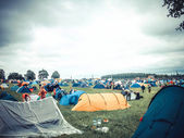 Camping at the festival during bad weather